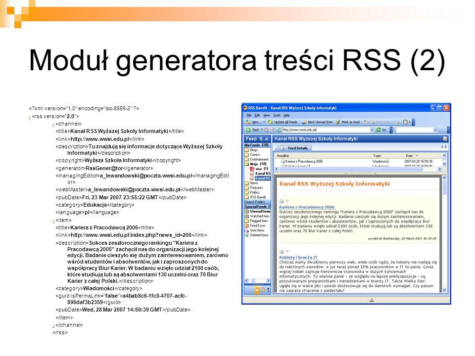 Moduł generatora treści RSS (2)