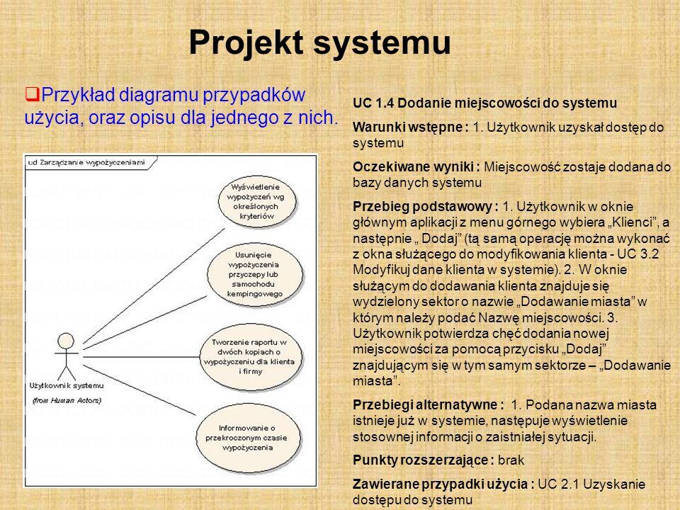 Projekt systemu Przykład diagramu przypadków użycia, oraz opisu dla jednego z nich. UC 1.4 Dodanie miejscowości do systemu.