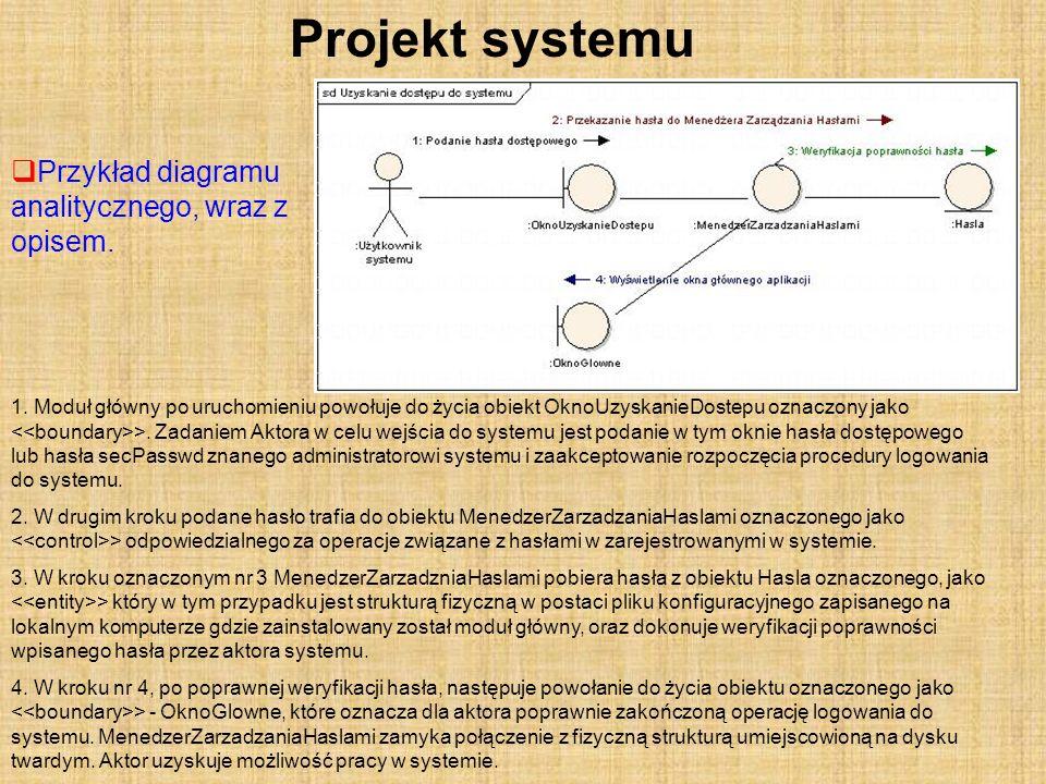 Projekt systemu Przykład diagramu analitycznego, wraz z opisem.