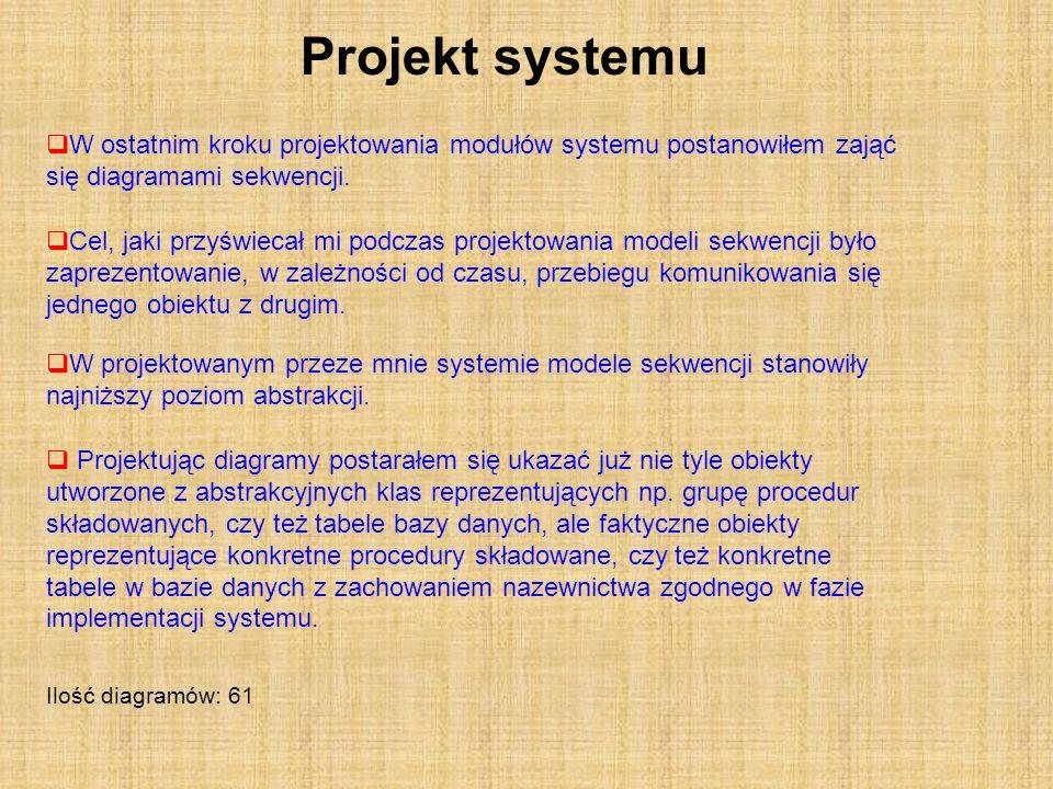 Projekt systemu W ostatnim kroku projektowania modułów systemu postanowiłem zająć się diagramami sekwencji.