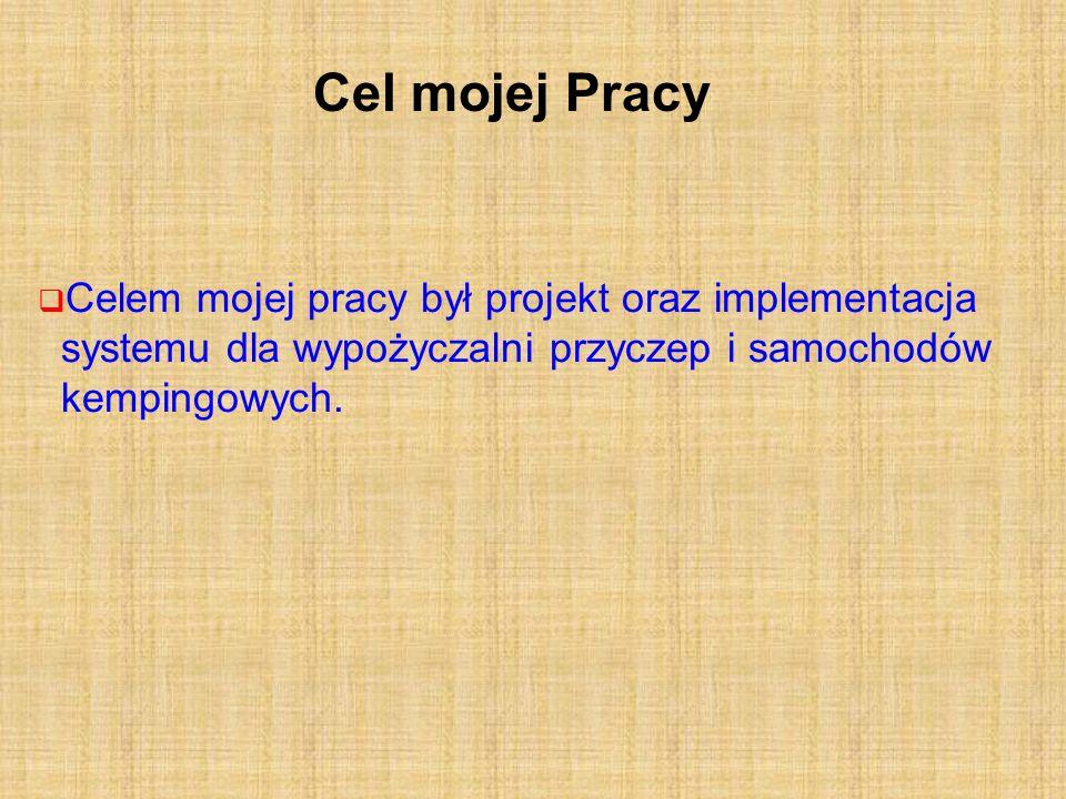 Cel mojej Pracy Celem mojej pracy był projekt oraz implementacja