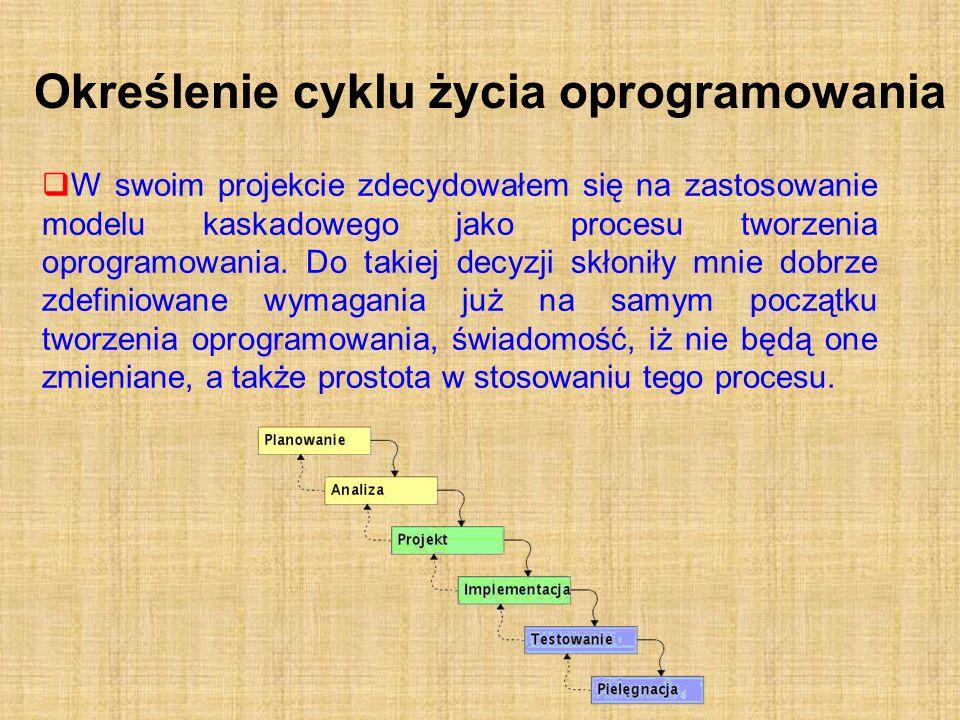 Określenie cyklu życia oprogramowania