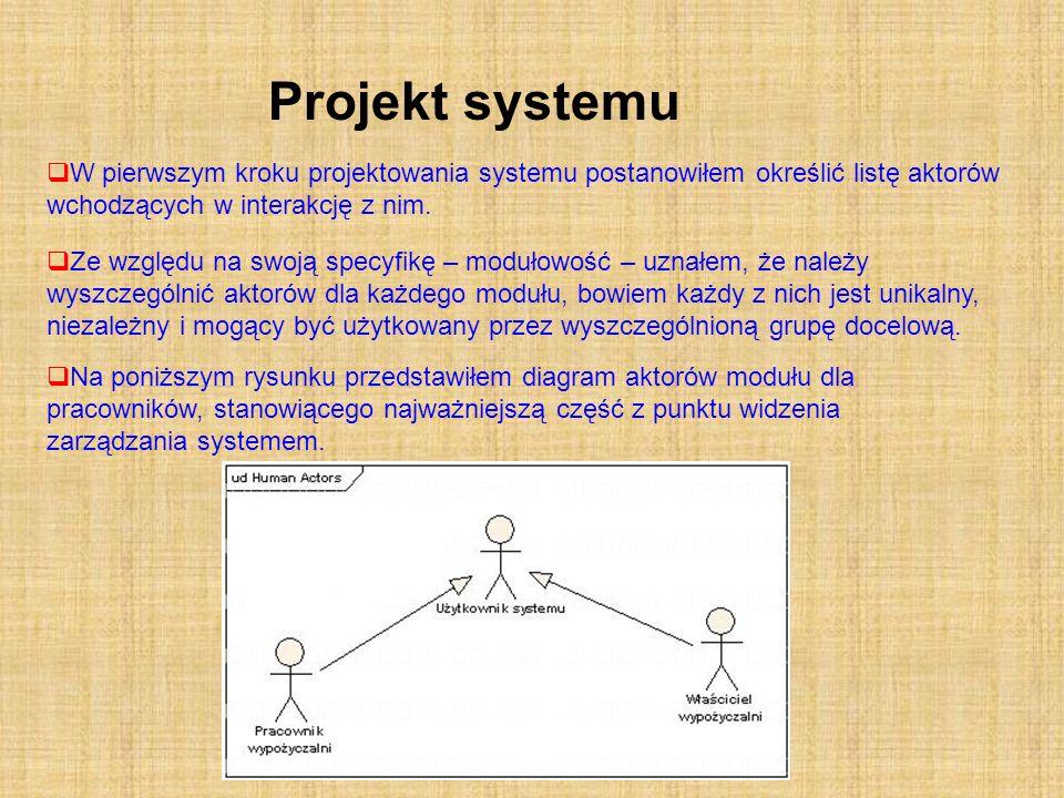 Projekt systemu W pierwszym kroku projektowania systemu postanowiłem określić listę aktorów wchodzących w interakcję z nim.