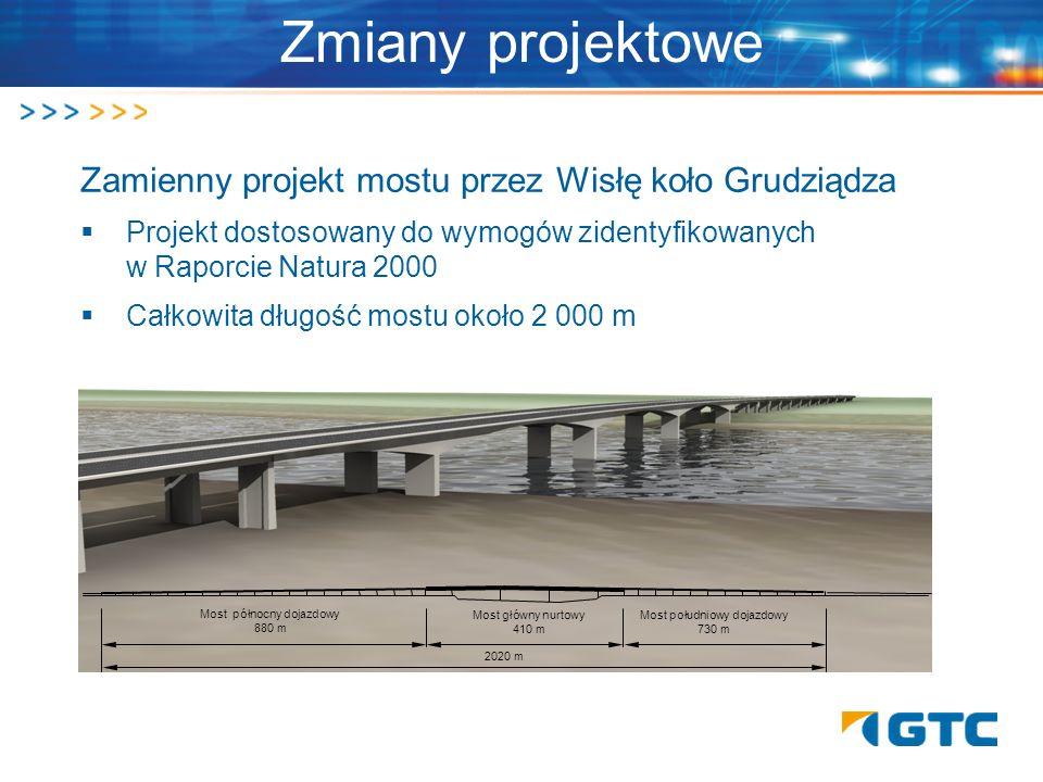 Zmiany projektowe Zamienny projekt mostu przez Wisłę koło Grudziądza