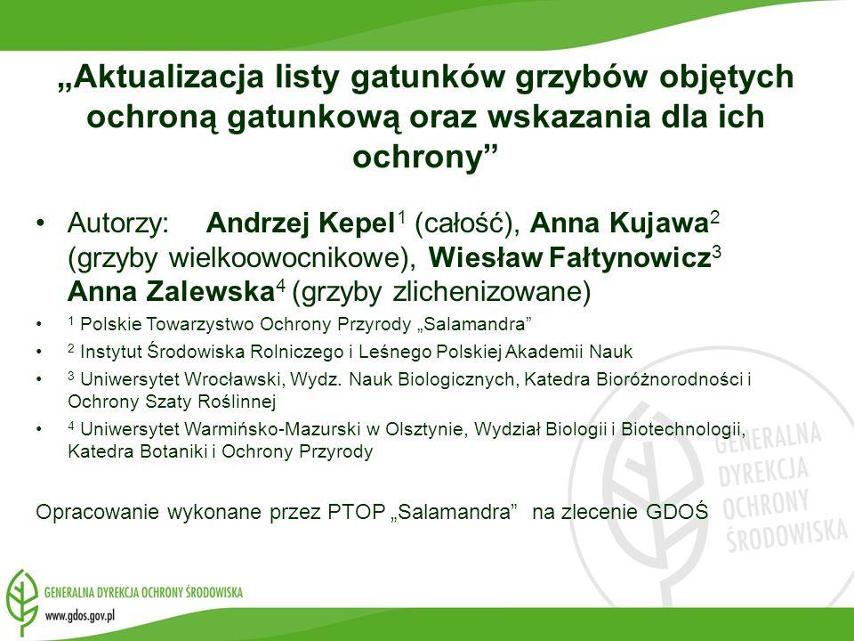 """""""Aktualizacja listy gatunków grzybów objętych ochroną gatunkową oraz wskazania dla ich ochrony"""
