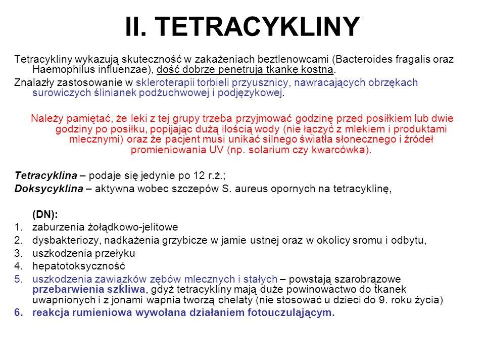 II. TETRACYKLINY