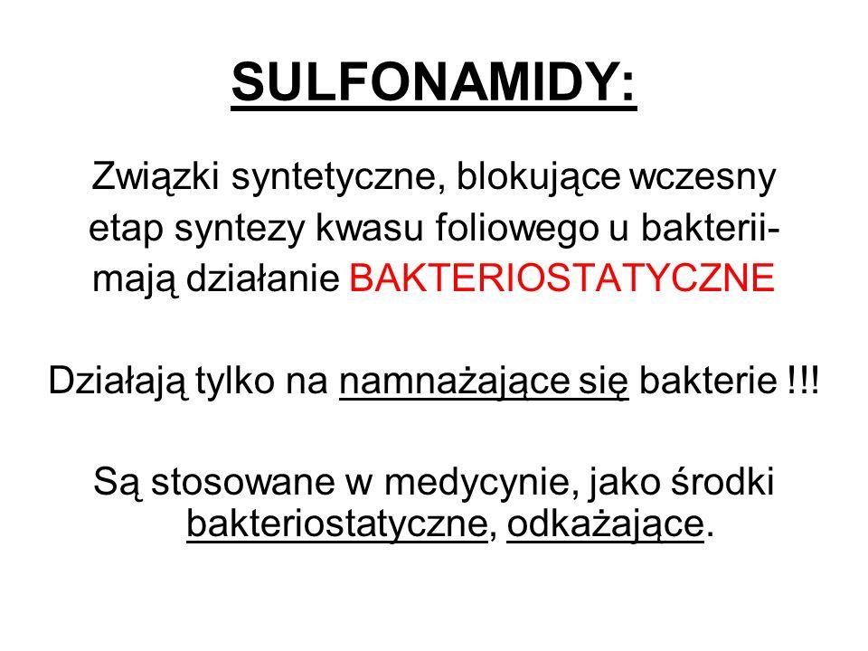 SULFONAMIDY: Związki syntetyczne, blokujące wczesny