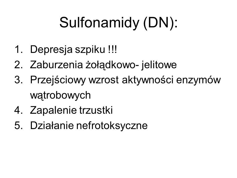Sulfonamidy (DN): Depresja szpiku !!! Zaburzenia żołądkowo- jelitowe