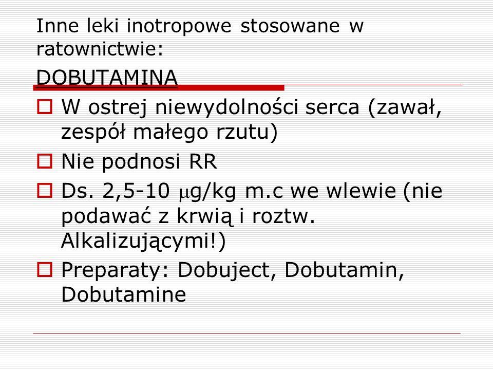 Inne leki inotropowe stosowane w ratownictwie: