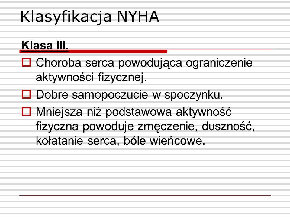 Klasyfikacja NYHA Klasa III.