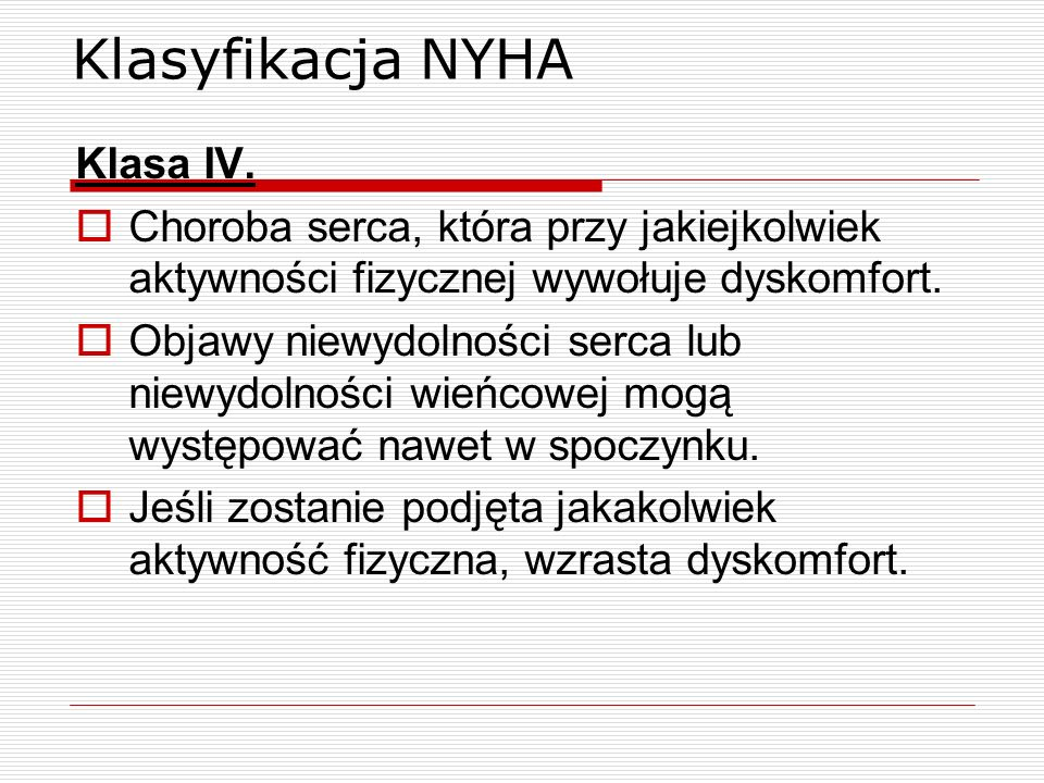 Klasyfikacja NYHA Klasa IV.