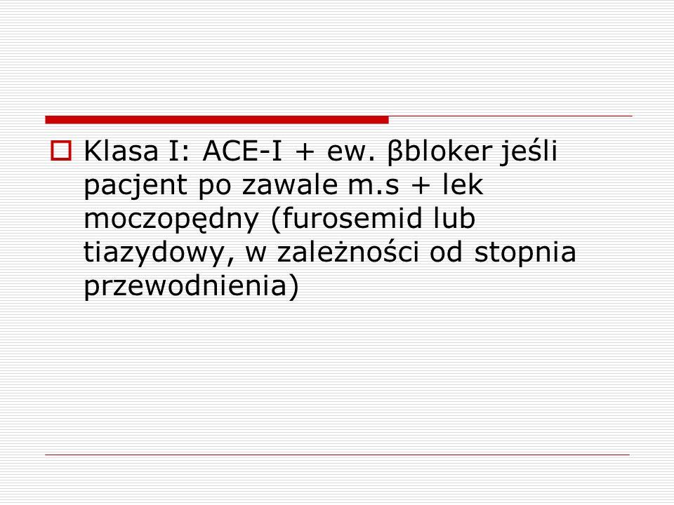 Klasa I: ACE-I + ew. βbloker jeśli pacjent po zawale m