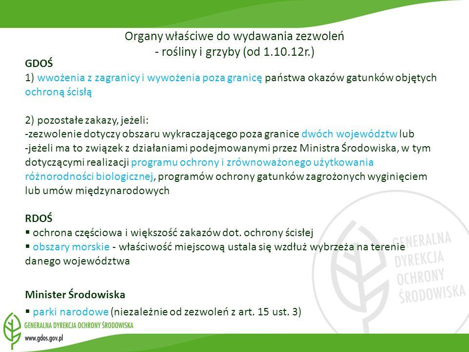 Organy właściwe do wydawania zezwoleń - rośliny i grzyby (od 1.10.12r.)