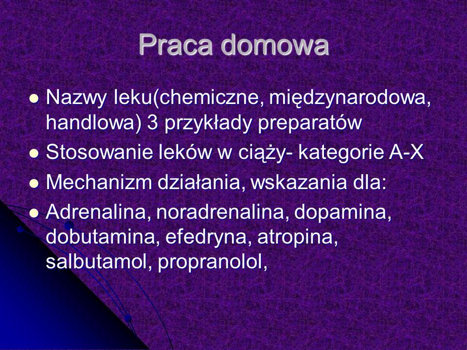 Praca domowa Nazwy leku(chemiczne, międzynarodowa, handlowa) 3 przykłady preparatów. Stosowanie leków w ciąży- kategorie A-X.