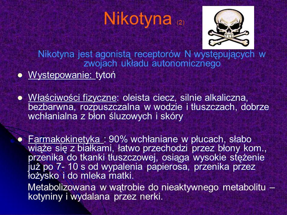 Nikotyna (2) Nikotyna jest agonistą receptorów N występujących w zwojach układu autonomicznego. Wystepowanie: tytoń.