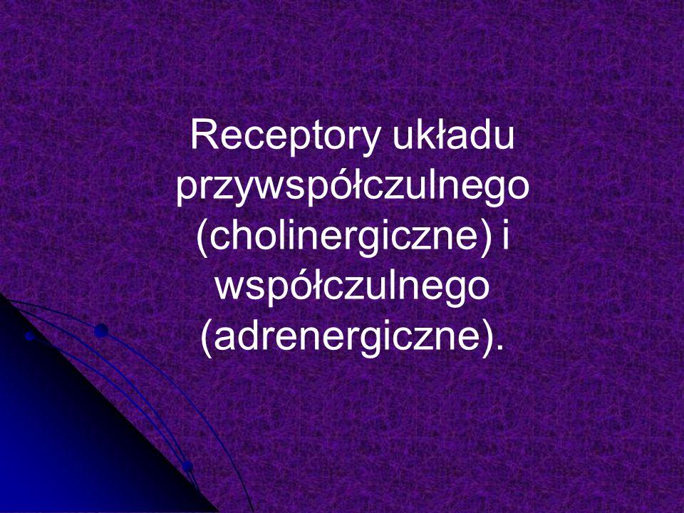 Receptory układu przywspółczulnego (cholinergiczne) i współczulnego (adrenergiczne).