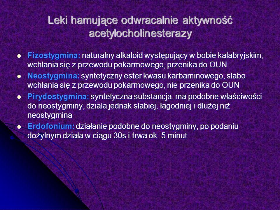 Leki hamujące odwracalnie aktywność acetylocholinesterazy