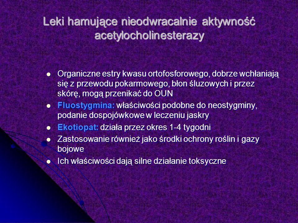 Leki hamujące nieodwracalnie aktywność acetylocholinesterazy