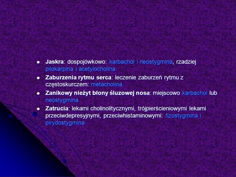 Jaskra: dospojówkowo: karbachol i neostygmina, rzadziej pilokarpina i acetylocholina