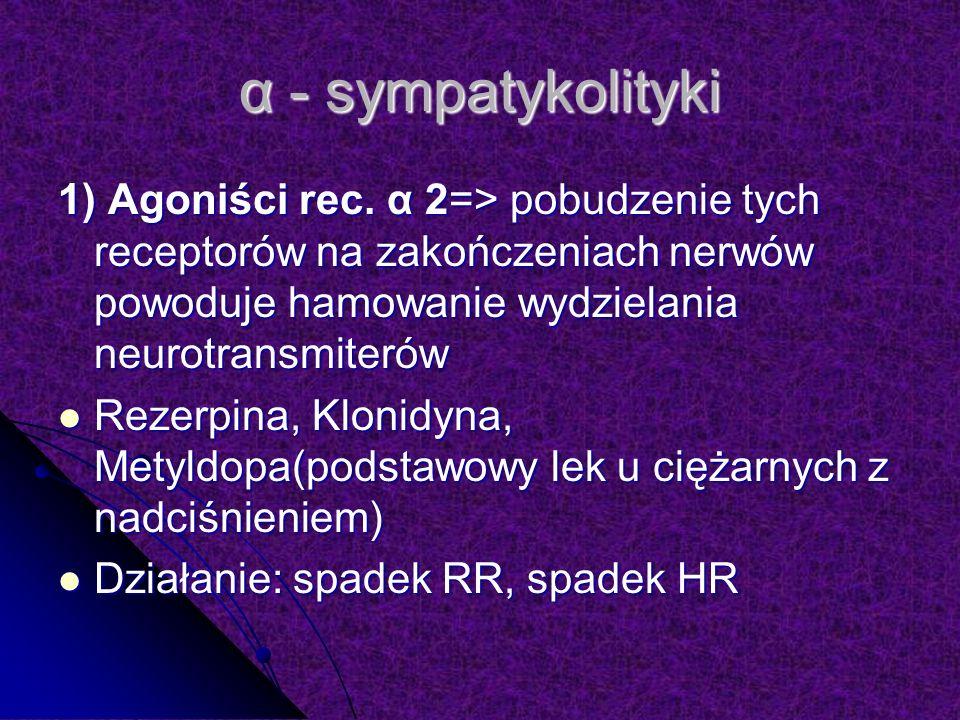 α - sympatykolityki 1) Agoniści rec. α 2=> pobudzenie tych receptorów na zakończeniach nerwów powoduje hamowanie wydzielania neurotransmiterów.