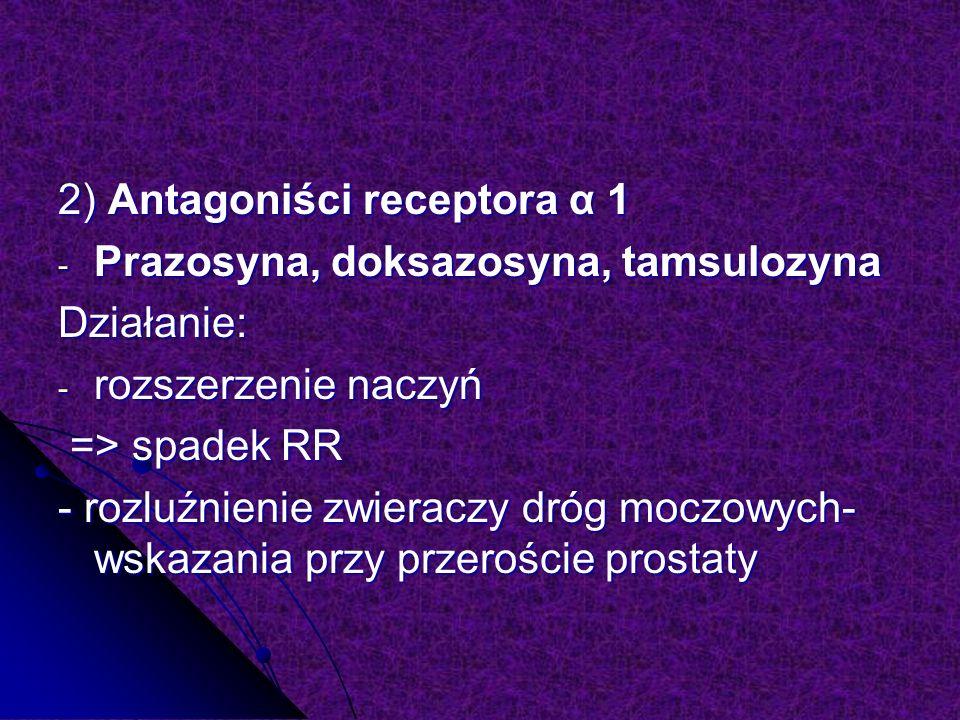 2) Antagoniści receptora α 1