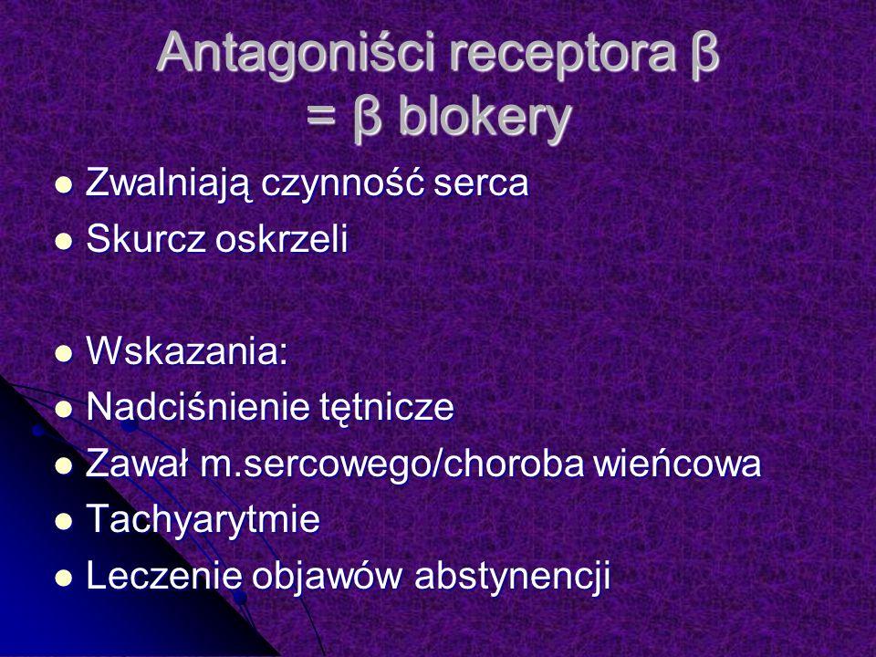 Antagoniści receptora β = β blokery