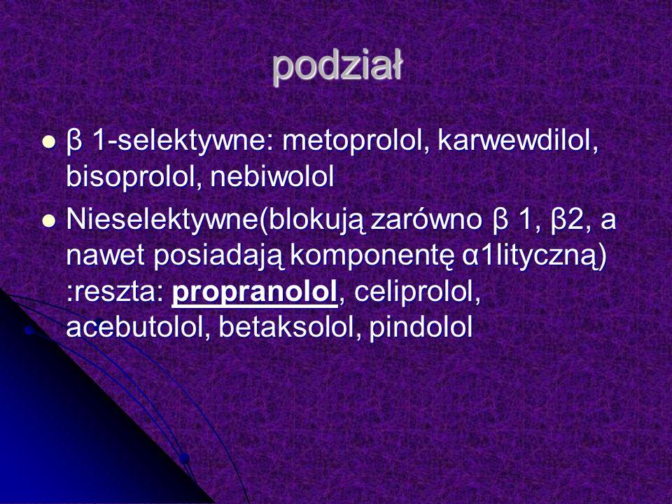 podział β 1-selektywne: metoprolol, karwewdilol, bisoprolol, nebiwolol