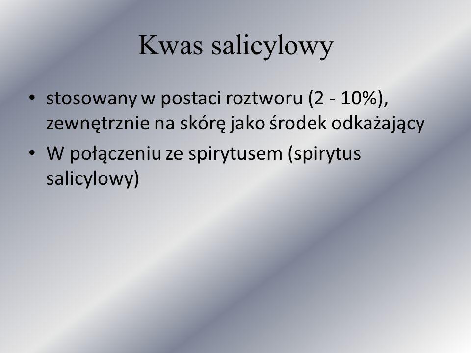 Kwas salicylowy stosowany w postaci roztworu (2 - 10%), zewnętrznie na skórę jako środek odkażający.