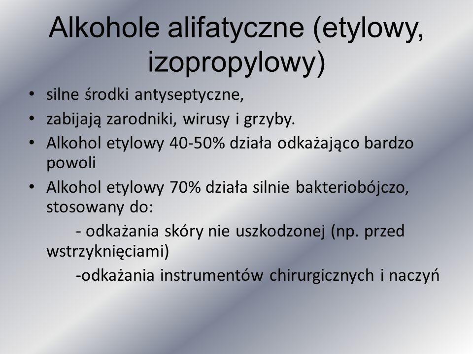 Alkohole alifatyczne (etylowy, izopropylowy)
