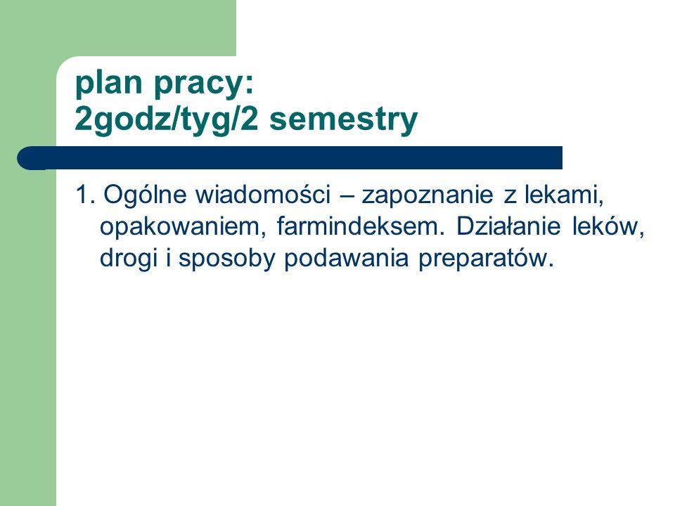 plan pracy: 2godz/tyg/2 semestry