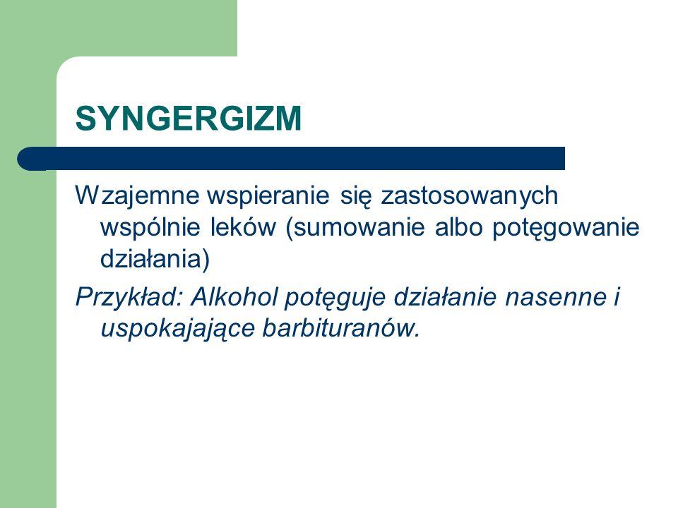 SYNGERGIZM Wzajemne wspieranie się zastosowanych wspólnie leków (sumowanie albo potęgowanie działania)
