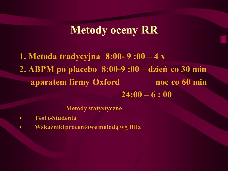 Metody oceny RR 1. Metoda tradycyjna 8:00- 9 :00 – 4 x