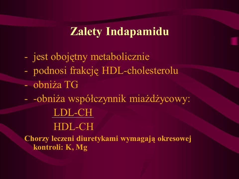 Zalety Indapamidu jest obojętny metabolicznie