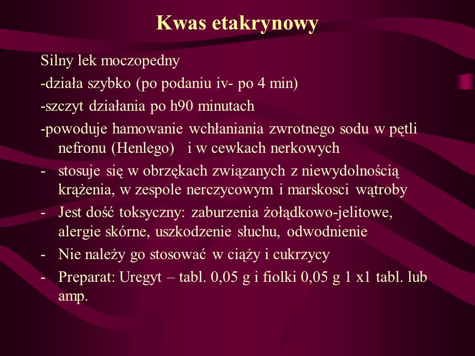 Kwas etakrynowy Silny lek moczopedny