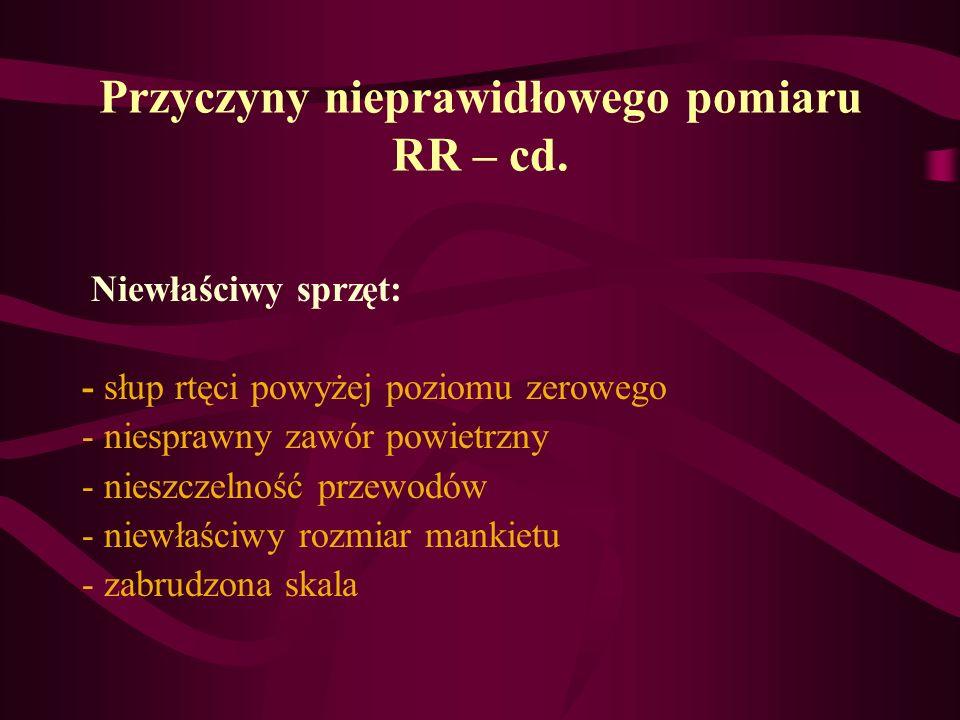 Przyczyny nieprawidłowego pomiaru RR – cd.