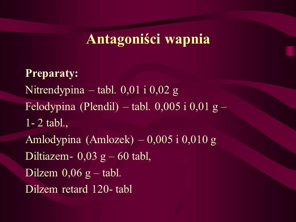 Antagoniści wapnia Preparaty: Nitrendypina – tabl. 0,01 i 0,02 g
