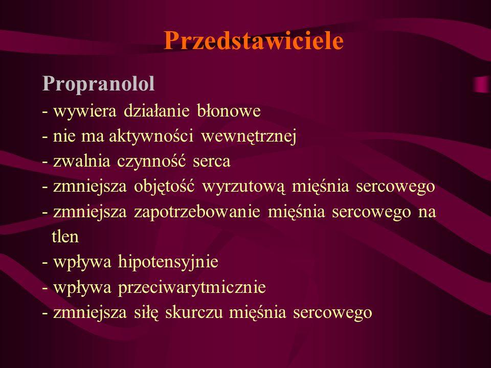Przedstawiciele Propranolol - wywiera działanie błonowe