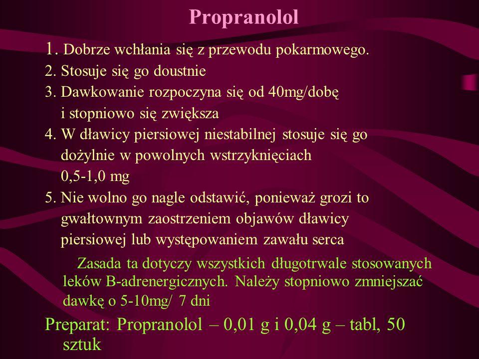 Propranolol 1. Dobrze wchłania się z przewodu pokarmowego.