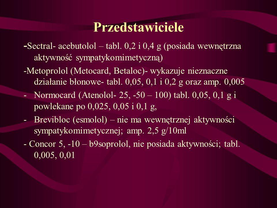 Przedstawiciele-Sectral- acebutolol – tabl. 0,2 i 0,4 g (posiada wewnętrzna aktywność sympatykomimetyczną)