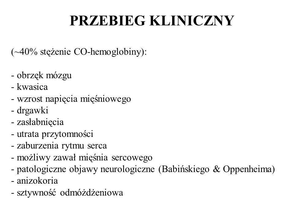 PRZEBIEG KLINICZNY (~40% stężenie CO-hemoglobiny): - obrzęk mózgu