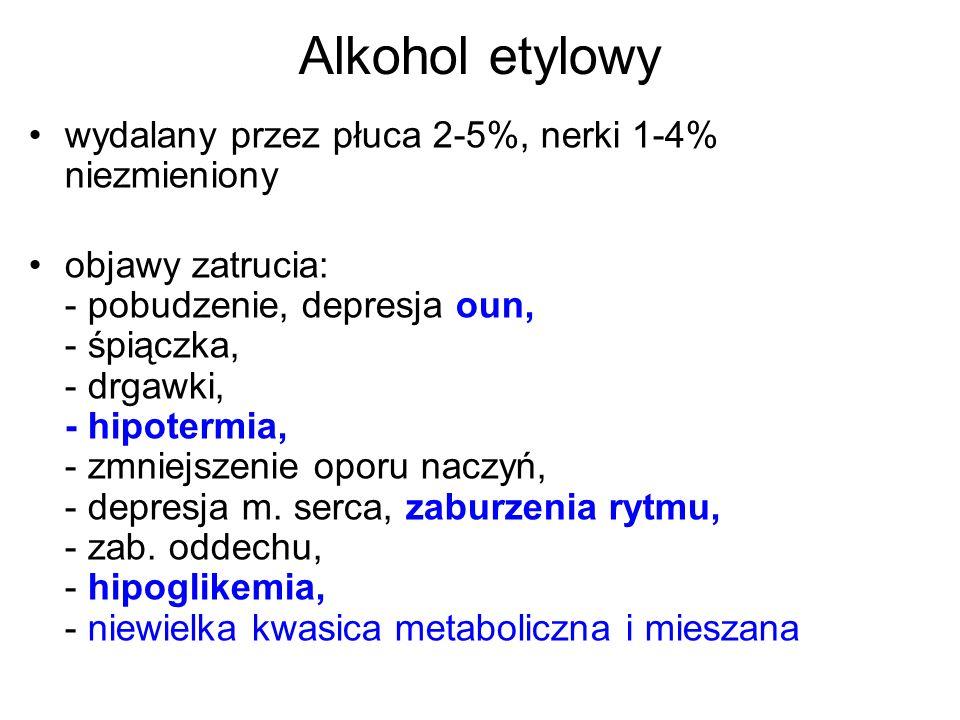 Alkohol etylowy wydalany przez płuca 2-5%, nerki 1-4% niezmieniony