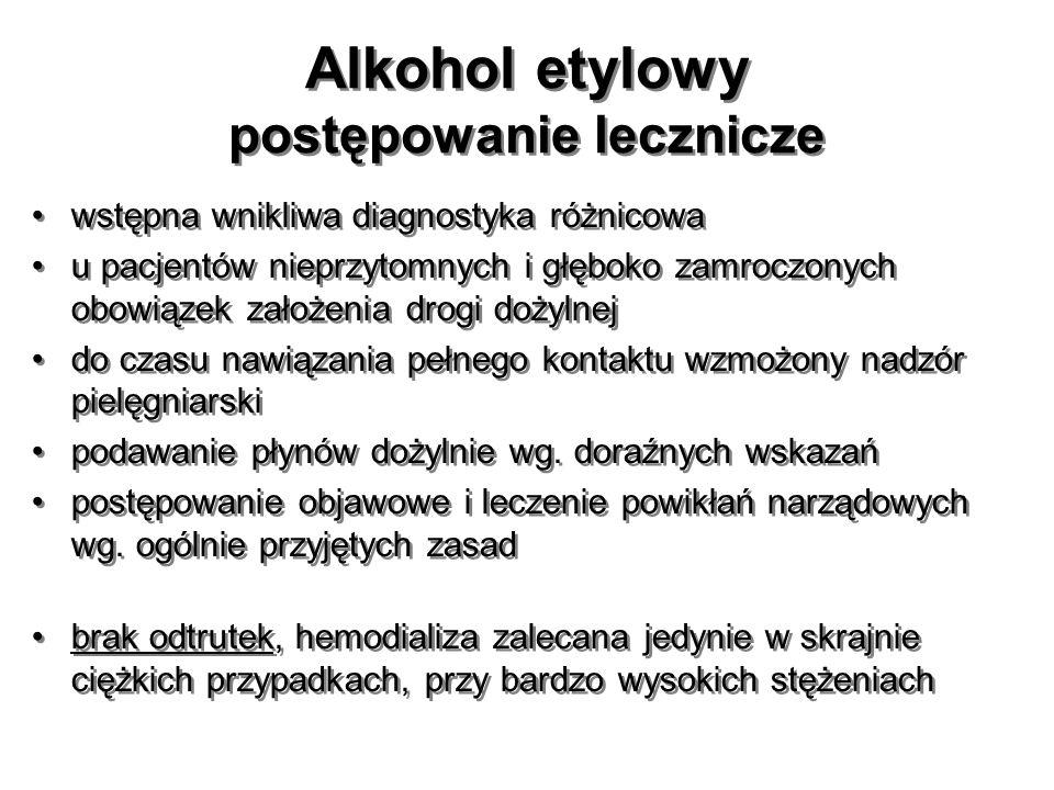 Alkohol etylowy postępowanie lecznicze