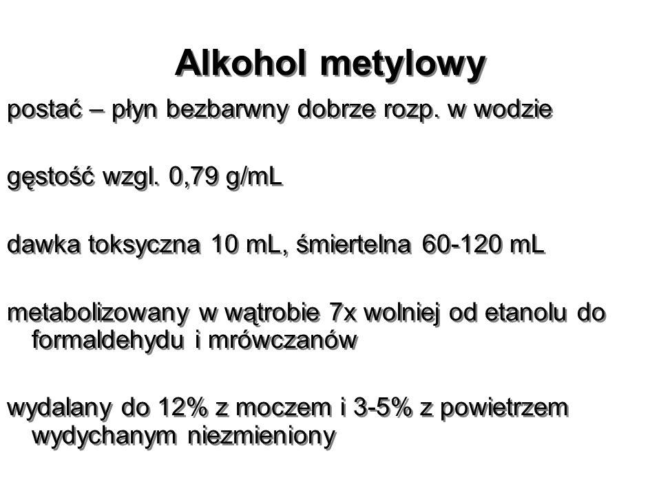 Alkohol metylowy postać – płyn bezbarwny dobrze rozp. w wodzie