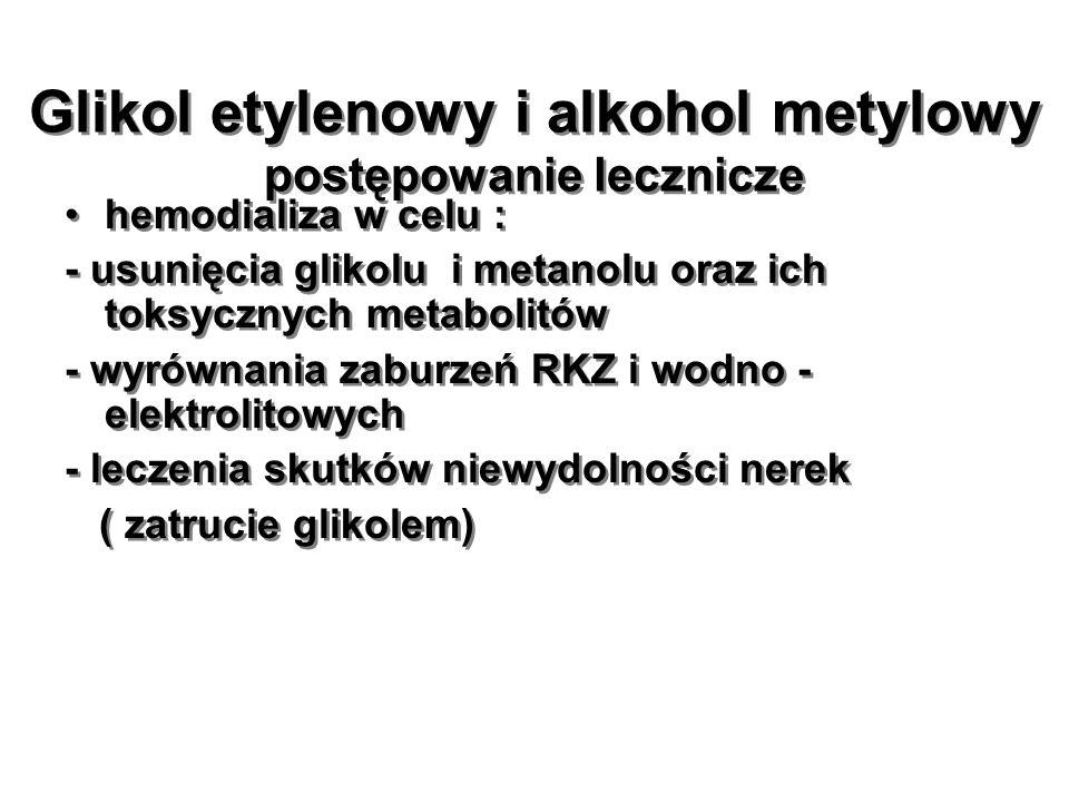 Glikol etylenowy i alkohol metylowy postępowanie lecznicze