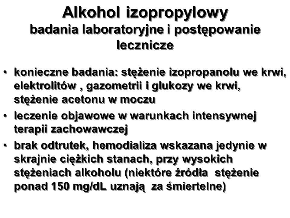 Alkohol izopropylowy badania laboratoryjne i postępowanie lecznicze