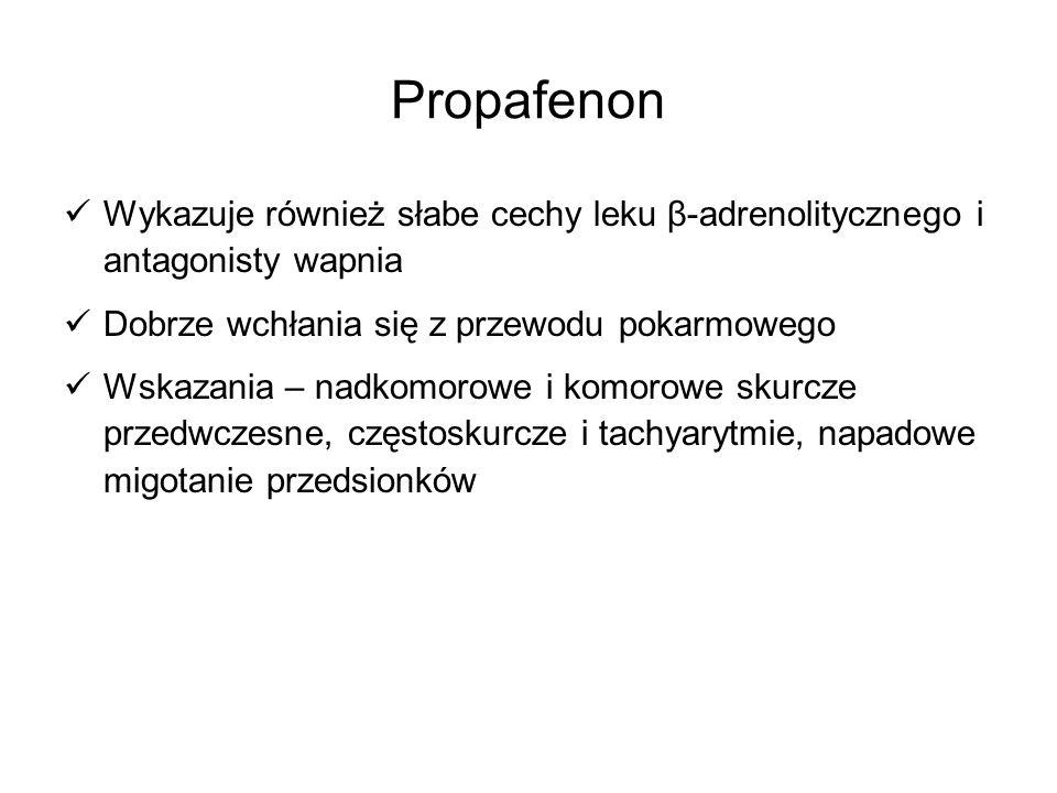 Propafenon Wykazuje również słabe cechy leku β-adrenolitycznego i antagonisty wapnia. Dobrze wchłania się z przewodu pokarmowego.