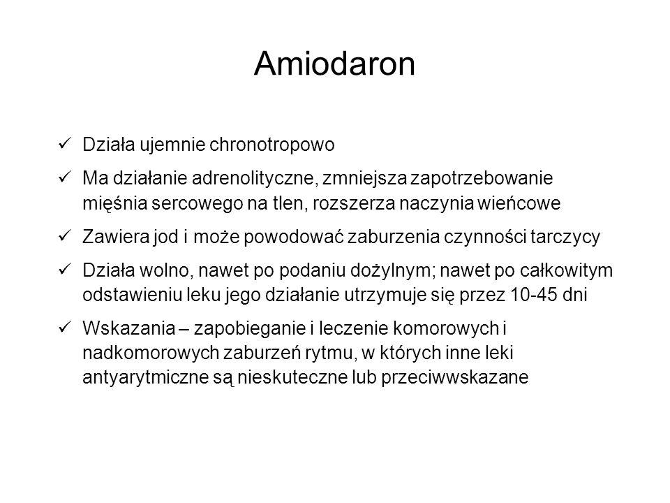 Amiodaron Działa ujemnie chronotropowo