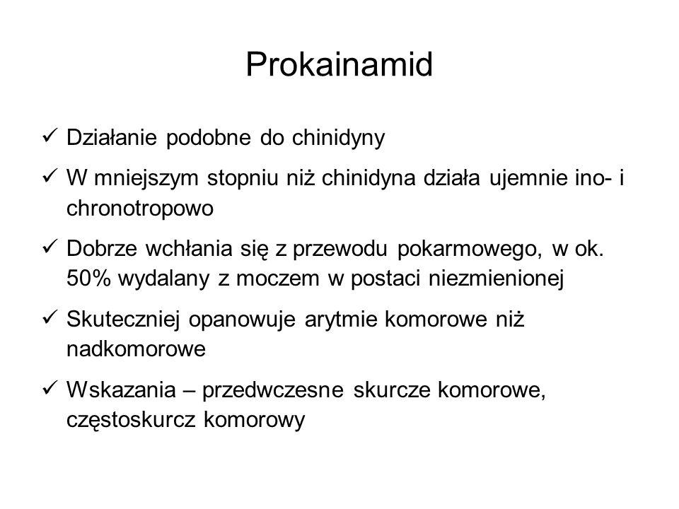 Prokainamid Działanie podobne do chinidyny