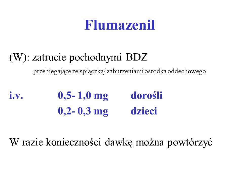 Flumazenil (W): zatrucie pochodnymi BDZ przebiegające ze śpiączką/ zaburzeniami ośrodka oddechowego.