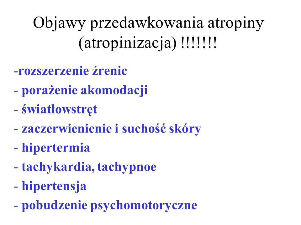 Objawy przedawkowania atropiny (atropinizacja) !!!!!!!